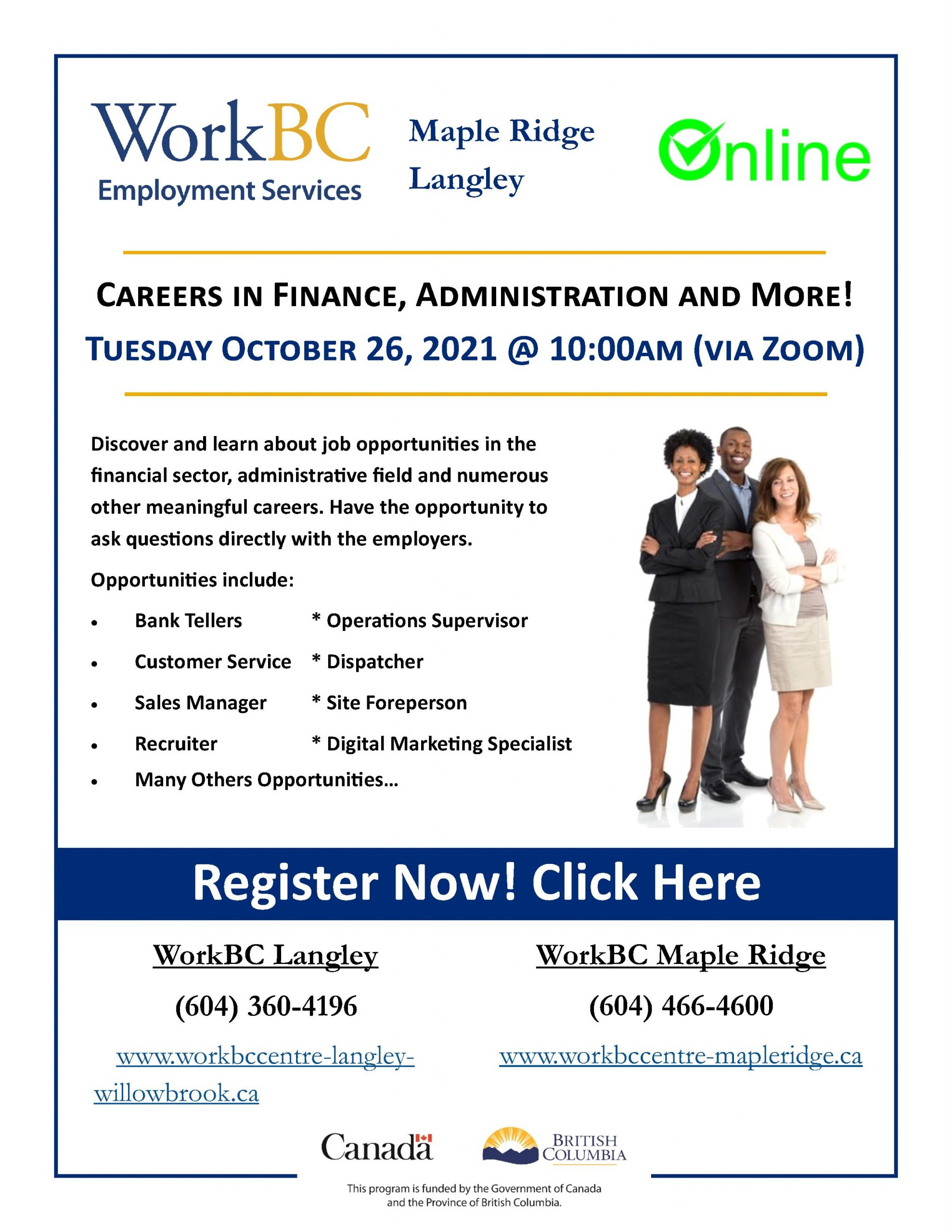 Careers in Finance, Administration and More!